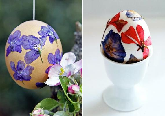A szárazvirágokat is ugyanilyen formában operálhatod rá a tojásra, ettől picit rusztikus lesz az egész.