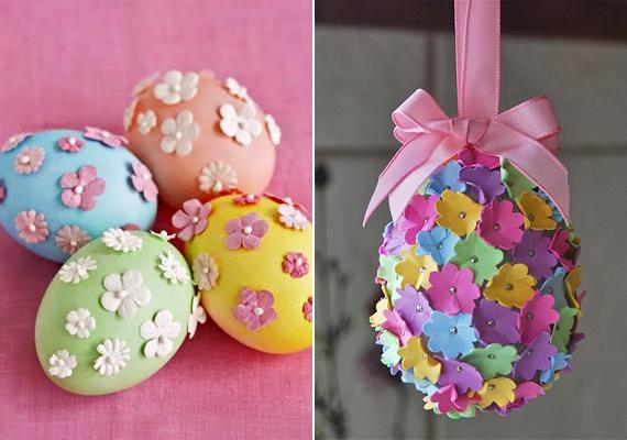 Mit tesz néhány virágszirom és gombostű? Ha hungarocell tojást választasz, ilyen formában is készíthetsz hímeseket.