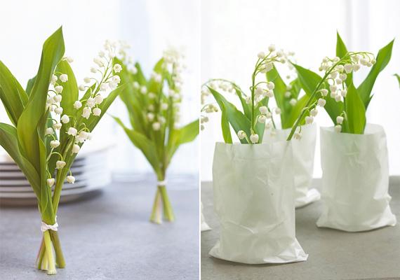 A gyöngyvirágból elég két-három szálat összekötni a dekorációhoz. Akár állítva is kiteheted őket, de egy műanyag pohárba helyezve, amit csomagolópapírból készült tasak fed, még szebb lesz a végeredmény.