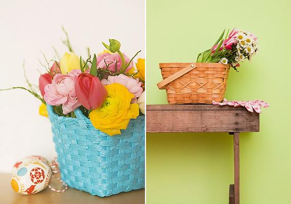 Válogass össze tetszésed szerint két-három fajta virágot, állítsd vízbe, majd a vizesedénnyel együtt tedd kosárba.