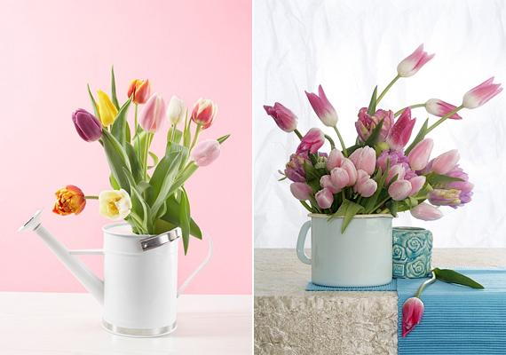 Természetesen nincs tavasz tulipán nélkül. Az ártatlanságot sugárzó, klasszikus virág a legjobban egy locsolókannában vagy egy retró főzőedényben érvényesül, persze többedmagával.