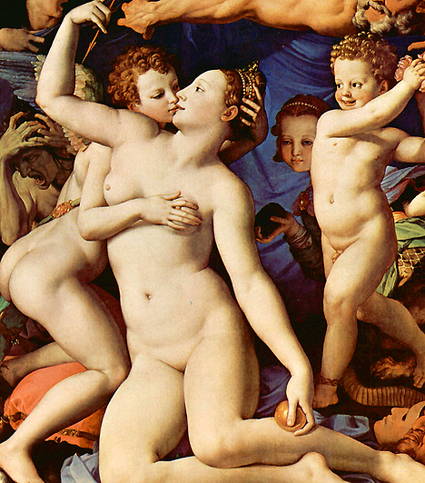 Vénusz és Cupidó  A 16. századi festők közül talán Bronzino az, aki a legmesszebb merészkedett az erotikát illetően. Bár festménye tematikailag tartja magát a mitológiai közeghez, lesütött szemű, magukat takargató hölgyek helyett testiségükben fürdőző alakokat fest.