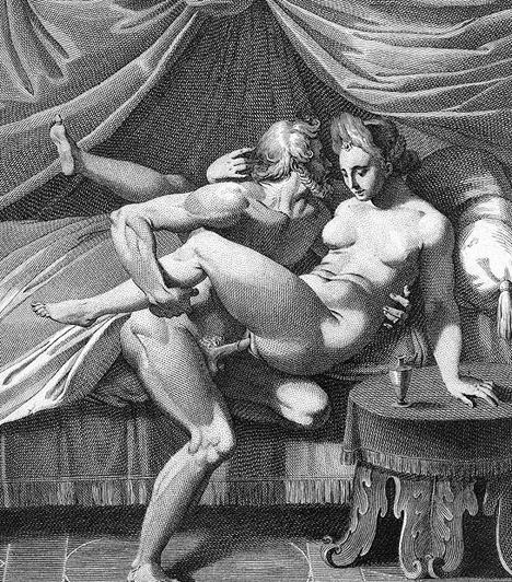 Erotikus metszetA könyvnyomtatás feltalálása után nem sokat kellett várni az első erotikus történetekre. Carracci 16. századi pajzán metszete bár Zeuszt és Hérát ábrázolja, egyértelműen nem a mitológiát helyezi középpontba.