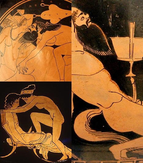 Pajzán görög vázák  Ha erotikáról volt szó, az antik görögöket cseppet sem kellett félteni. Klasszikus fekete-narancssárga árnyalatú vázáikon számos huncut jelenetet örökítettek meg, az orgiáktól egészen az egyneműek szerelméig.
