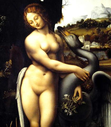 Léda és a hattyúA 16. században a meztelenség és az erotika még csak kizárólag mitológiai témába burkolva jelenhetett meg. Bár Leonardo Da Vinci nem kifejezetten szexuális témáiról híres, a Léda és a hattyú című mitológiai festménye a hódítás és a vágy minden jellemző gesztusát tartalmazza.