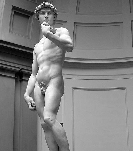 Dávid: a tökéletes férfi  Michelangelo egyetlen tömb márványból faragta ki minden idők egyik legszebb férfialakját, aki az erő és a férfias erotika megtestesítője. A Dávid nemcsak a testarányok terén, de mint szexideál is korszakalkotó.