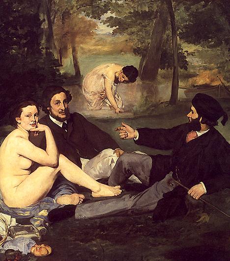Reggeli a szabadbanManet képe a 19. század közepén igen nagy felháborodást keltett. Ez volt az egyik első festmény, ahol a nő csak úgy önmagában meztelen, és nincsen semmilyen mondai közeg, ami ezt tompítaná. A modell természetesen prostituált volt, aki fedetlensége mellett még igen kihívóan ki is néz a képből.
