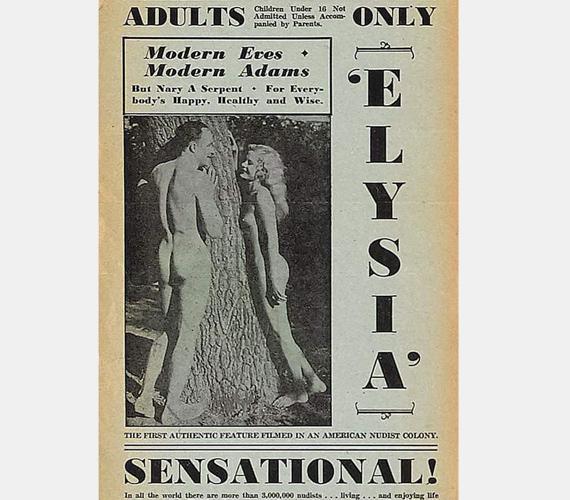 1934-ben igencsak bátor embernek számított az, aki a modern Ádámoknak és Éváknak megtervezte az Elysia, Valley of the Nude plakátját.