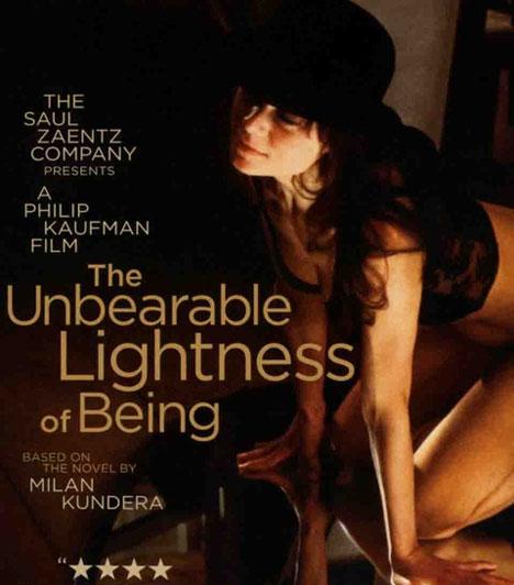 A lét elviselhetetlen könnyűségePhilip Kaufman 1988-as filmje Milan Kundera azonos című regényéből készült. Tomas megrögzött agglegény, és igyekszik elkerülni, hogy bármelyik nőhöz is kötődjön, az életébe lépő Teresát azonban mégis feleségül veszi. Viszont megtartja szeretőjét, Sabrinát is. A két nő megismerkedését a '68-as forradalom keresztezi.