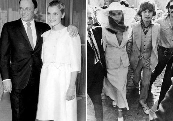 A hetvenes évek menyasszonyi ruhái extravagánsak voltak, aszimmetrikus elemekkel és kiegészítőkkel. Jellemzőek voltak a kosztümszerű ruhák is ebben az időben.                         A bal oldali képen Frank Sinatrát és Mia Farrow-t láthatod esküvőjükön, 1966-ban, jobbra pedig Mick Jaggert és újdonsült feleségét, 1971-ben.