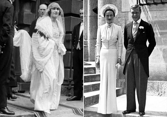 A 20. század elején a ruhák még mindig magukban hordozták a múlt század díszítési szokásait, és nagy hangsúlyt helyeztek a fejdíszre, mely a húszas években jellegzetes formát öltött. Jellemző volt ekkor az uszályos szoknyarész is. A harmincas években a szimmetria volt a legfontosabb elv, a ruhák szabása a századelő eleganciáját idézte fel.                         A bal oldali képen VI. György királyt láthatod Erzsébettel, 1923-ban, jobbra pedig Edwardot, Windsor hercegét arájával, 1937-ből.