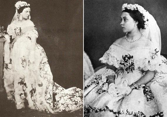 Noha a 15. századtól a menyasszonyi ruha színe rendszerint zöld, a 16. századtól pedig piros volt, majd fekete, 1840-ben megváltozott minden: Viktória királynő hófehér ruhát készíttetett magának esküvőjére, elsőként a történelem során.                         A képen Viktória királynő, habos, narancsvirágszirmos ruhájában.