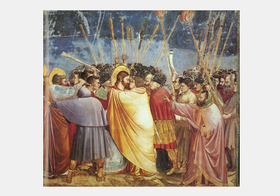 Júdás óta a csók az árulással is összekapcsolódott. Ezt örökítette meg Giotto az 1300-as évek elején keletkezett festményén.