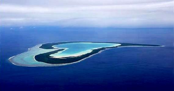 A Francia Polinézia-i Tupai szigete korallzátonyokból alakult ki.