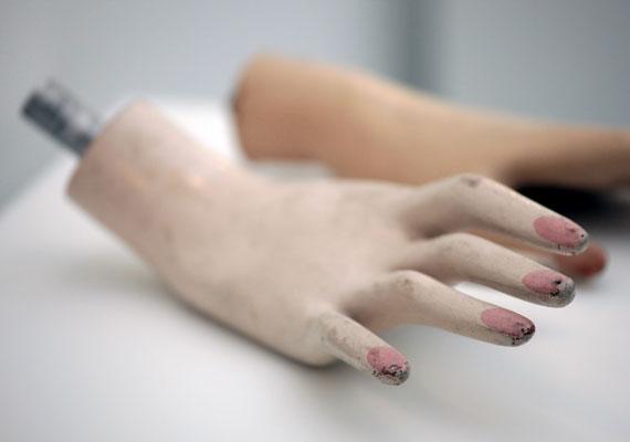 A kiállítás legbizarrabb darabjai közé tartozó kezek eredetét jótékony homály fedi.