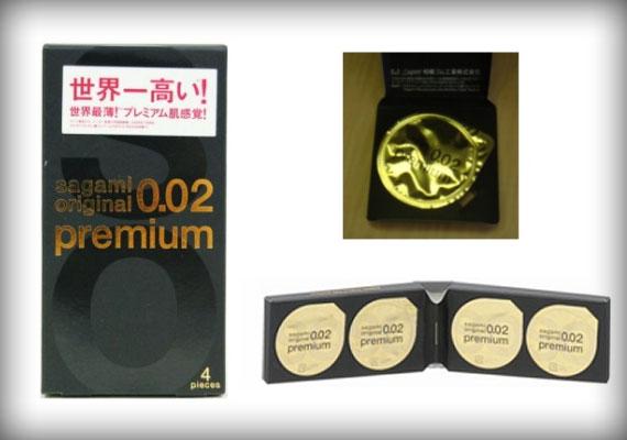 A japán Sagami cég által gyártott, mindössze 0,02 mm vastag Original 0.02 Condomból egy négydarabos csomag ára 24 dollár.