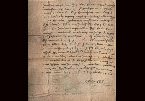 Az első magyar nyelvű szerelmeslevél Thurzó Elek országbíró keze nyomát őrzi 1525-ből.