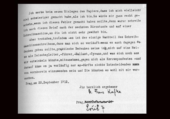 Részlet Franz Kafka Felice Bauerhez írt első leveléből.