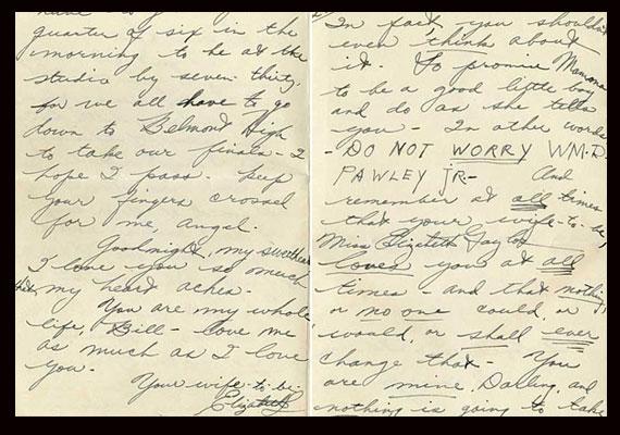 Liz Taylor első vőlegényéhez, William Pawley-hoz írt szerelmes levele 1949-ből.