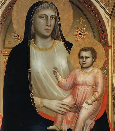 Trónoló MadonnaGiotto az Ognissanti-templom számára festette 1310-ben híres Madonna festményét. A középkori művészet a nőies vonások helyett tipikusan a torzított méretarányokkal teszi hangsúlyosabbá a központi figurákat. A prűd vallásos világ a női testről tudatosan megfeledkezik, alakjai éppen ezért inkább férfiasak.
