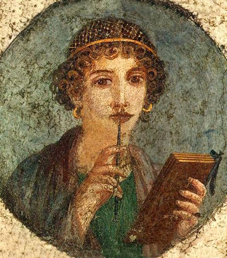 Pompeji költőnőNem sokkal Pompei pusztulása előtt, az első század közepe táján jelent meg az illuzionisztikus ábrázolásmód, melynek egyik képviselője ez a női portré. Az idealizált nőalak a görög eszmény továbbgondolása, finom szépsége azonban már-már éterien tökéletes.
