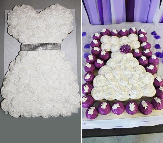 Pénisztorta helyett ezerszer jobb választás egy menyasszonyi ruha alakú torta. Ha nem szeretnétek bajlódni a szögletes piskóta formára vágásával - balra -, készítsetek elegendő számú fehér krémes cupcake-et, és tegyétek le őket egymás mellé egy tálcára ruha alakban - jobbra.