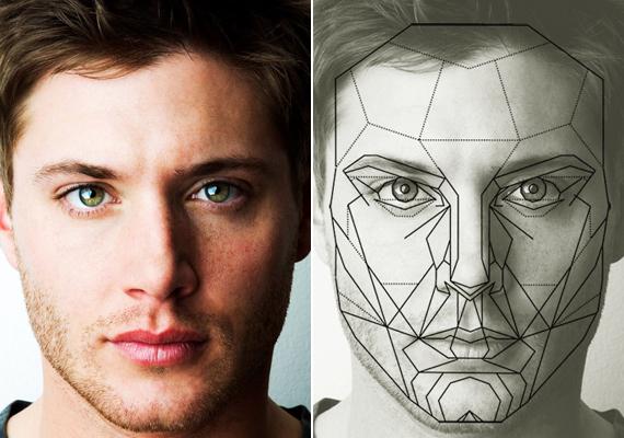 Jensen Ackles arca maszkkal, illetve anélkül. De vajon megfigyelve arcát és figyelembe véve más sztárokét, akik megközelítik a tökéletes arányokat, milyen jellemzők mondhatóak el általános kritériumként a szép, azaz jóképű férfiarcra?