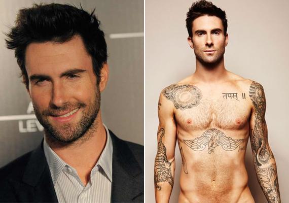 Adam Levine jógával és spinninggel tartja formában testét, amit több különleges tetoválás - tigris, cápa, burjánzó rózsák - is díszít.