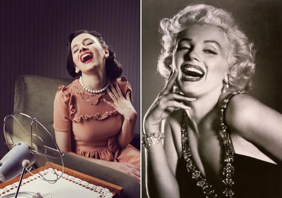 Az ötvenes években a nőies, csinos, klasszikus nő az ideál, aki bár törékeny és szexi, mégis talpraesett háziasszony. Hazánkban ekkor a dolgozó nő volt az ideál, aki inkább férfias, mint nőies: izmos, erős, egészséges. Jobb oldalon Marylin Monroe portéja.