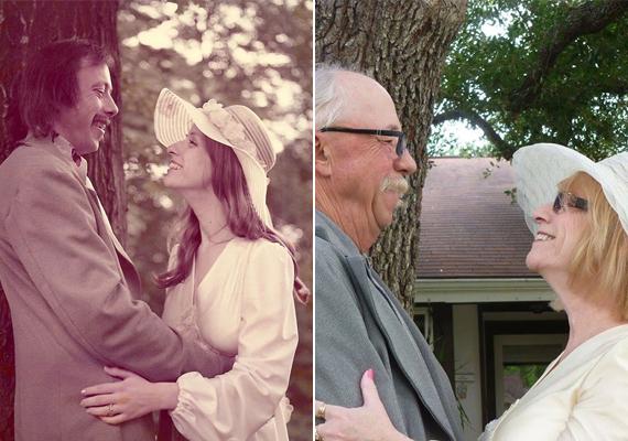A pár nem akármiben pózolt a kamera előtt: régi esküvői ruháikat öltötték magukra. Öltözékük további különlegessége, hogy mind a férj öltönyét, mind a menyasszonyi ruhát az ara maga varrta.