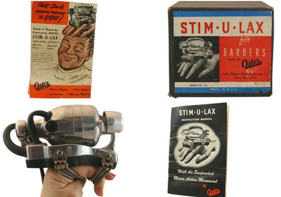 Az 1948-as Stim-U-Laxot borbélyoknak ajánlották fejmasszázs céljából. Az általa keltett rezgés használója kezében folytatódik.