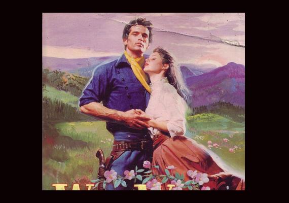 A Wild Wood című westernt illusztráló férfialak ugyan jóképű, de nem igazán érdekli az a szegény nő, aki odáig van érte.