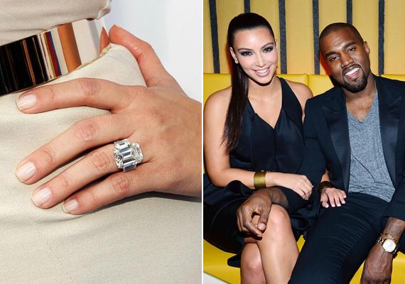 Kanye West és Kim Kardashian eljegyzése ugyanolyan grandiózus volt, mint maga a gyűrű, amit a rapper kedvese ujjára húzott. Az óriási 15 karátos gyémánt ékszer becslések szerint körülbelül 8 millió dollárba került.