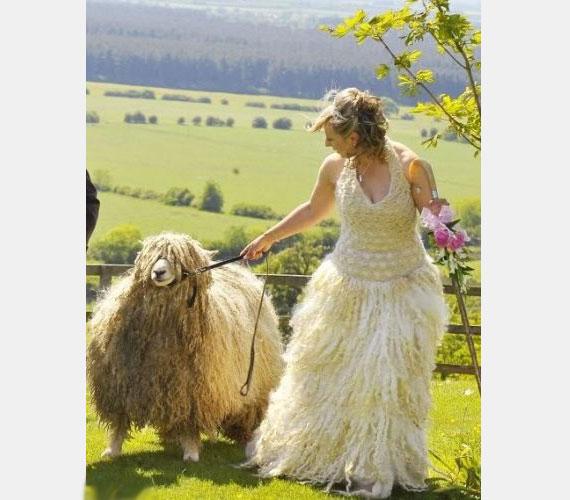 Kinek jutott az eszébe, hogy ezt a szegény menyasszonyt birkának öltöztesse az esküvőjén?!