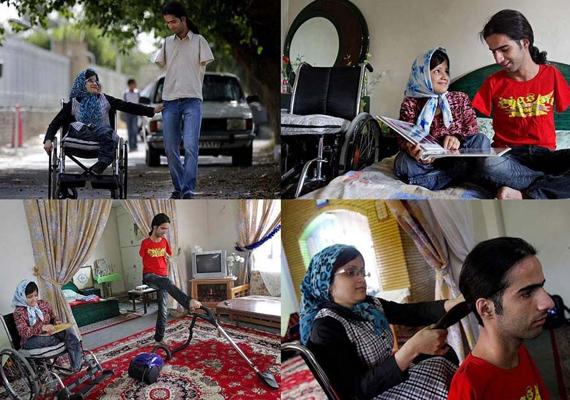 Ahmad és felesége, Fatima kapcsolata nem mindennapi. A nő lábak nélkül, míg férfi kezek nélkül él, de a képek tanúsága szerint ez nem állhat a szerelmük útjába.