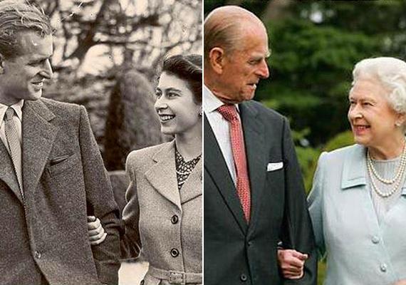 Az első kép a királyi párról 1946-ban készült, az esküvőjük előtt egy évvel, a második pedig napjainkban. Szerelmük 66 év után is töretlen.
