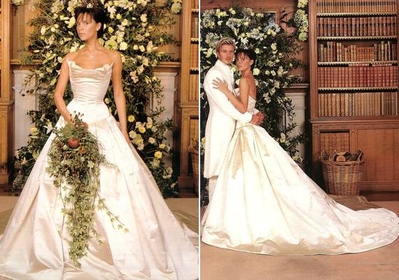 Bár már 17 évvel ezelőtt viselte, érdemes megemlíteni Victoria Beckham ruháját is. Posh Spice 1997-ben ment hozzá David Beckhamhez egy csodaszép, fényes Vera Wang kreációban.