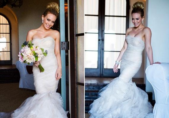 Szintén Vera Wang tervezte Hilary Duff sellőfazonú ruháját, amelyben 2010-ben állt oltár eléMike Comrie oldalán.