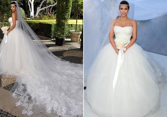 Kim Kardashiannek három esküvői ruhát is tervezett Vera Wang, amikor a valóságshowsztár 2011-ben hozzámentKris Humphrieshez. A nagy felhajtás ellenére a házasság mindössze 72 napig tartott.