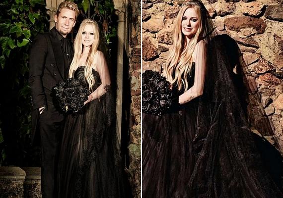 Avril Lavigne sajátos esküvői ruhát választott: az énekesnő teljesen feketében ment hozzá Chad Kroegerhez 2013-ban. A kreációMonique Lhuillier nevéhez fűződik.