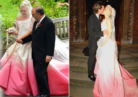 Hasonló ötleten alapul Gwen Stefani ruhája is, amelynek megalkotójaJohn Galliano a Diortól. Az énekesnőGavin Rossdale felesége 2002 óta.