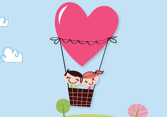 A szerelem felemel - szó szerint is. Csak egy hőlégballon kell hozzá. A képeslapért kattints ide!