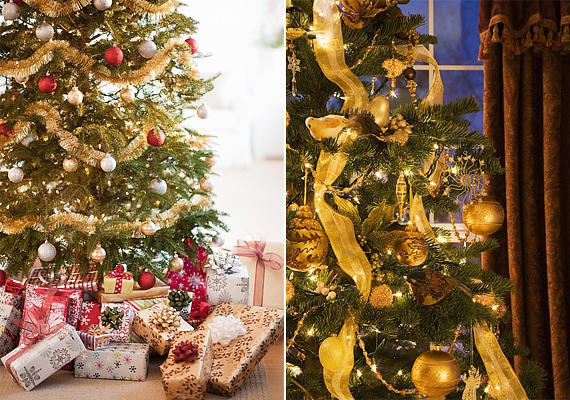 Az arany úgy szikrázik a zöld fenyőn, mintha magának a karácsonyfának az aurája lenne.