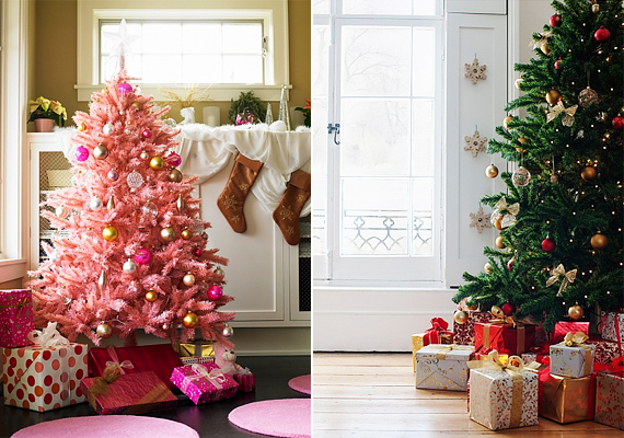 A végletek nem mindig rosszak. A rózsaszín fa remekül mutat arany és ezüst díszekkel, de ha jobban szereted az egyszerű, letisztult formákat, akkor néhány díszen és az égősoron kívül mást ne tegyél a fára.