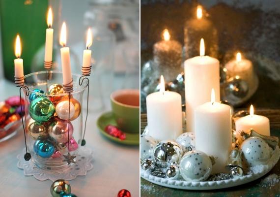 Nem csak a klasszikus adventi koszorú lehet az asztal éke, néhány gömbdísz és gyertya felhasználásával mutatós díszt készíthetsz.
