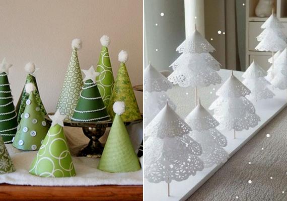 Míg az igazi karácsonyfára vársz, papírból készült fenyővel is dekorálhatsz. Összesodort félkörből vagy kidíszített, fogpiszkálóra húzott korongokból is mutatós.