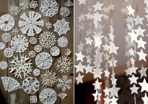 A papír számos ötletes és mutatós dekoráció alapja lehet, például hópelyheké az ablakra, vagy cérnára ragasztott csillagfüzéreké.