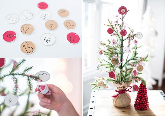 Ehhez a naptárhoz is csupán egy fenyőág kell. Vágj ki papírból kör alakú darabokat, számozd meg őket, szúrj ki rajtuk egy apró lyukat ollóval, így zsinórral fel tudod kötni őket. Köss melléjük egy-egy apró csokit is. Az ág alá tehetsz babot, vagy helyezheted egy üvegbe is, és azt becsomagolhatod.