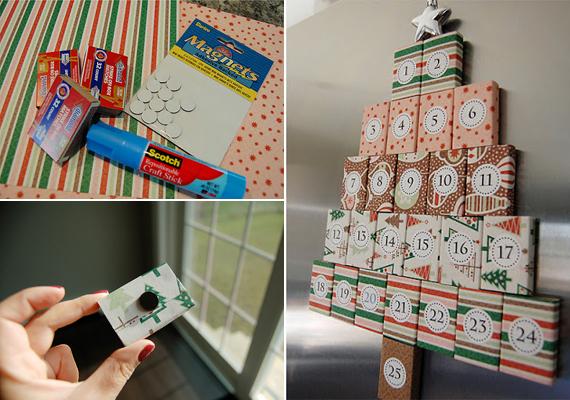 A kiürült gyufásdobozokat díszítsd ki csomagolópapírral, számozd meg, majd egy apró mágnes segítségével tedd fel őket a hűtőre karácsonyfa alakban.