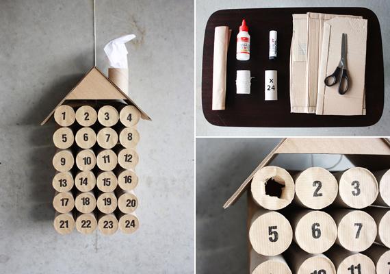 Ilyen helyes kis házikót hozhatsz létre WC-papír-gurigákból, kartonból, valamint barna papírból, olló és ragasztó segítségével. A gurigát állítsd a papírra, rajzold körbe, így pontosan akkor lesz a karika, amekkora kell. Vágj ki 24-et, majd írd rá a számokat.                         A guriga egyik peremét ragasztózd be, majd nyomd oda a papírkoronghoz úgy, hogy a szám kifelé legyen. Ha megvan az összes, akkor a még szabad végén pottyantsd bele az apró ajándékot, végül egy kartonlapra ragaszd fel őket. Nem kell feltétlenül sorban. Szintén kartonból készíts tetőt, sőt még egy kis kéményt is kialakíthatsz és zsírpapír lehet a füst. Az ajándékért át kell szakítani a papírt.